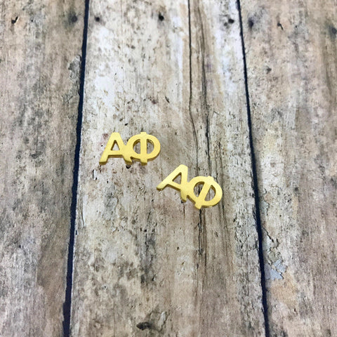 Alpha Phi Letter Stud Earrings (Gold)