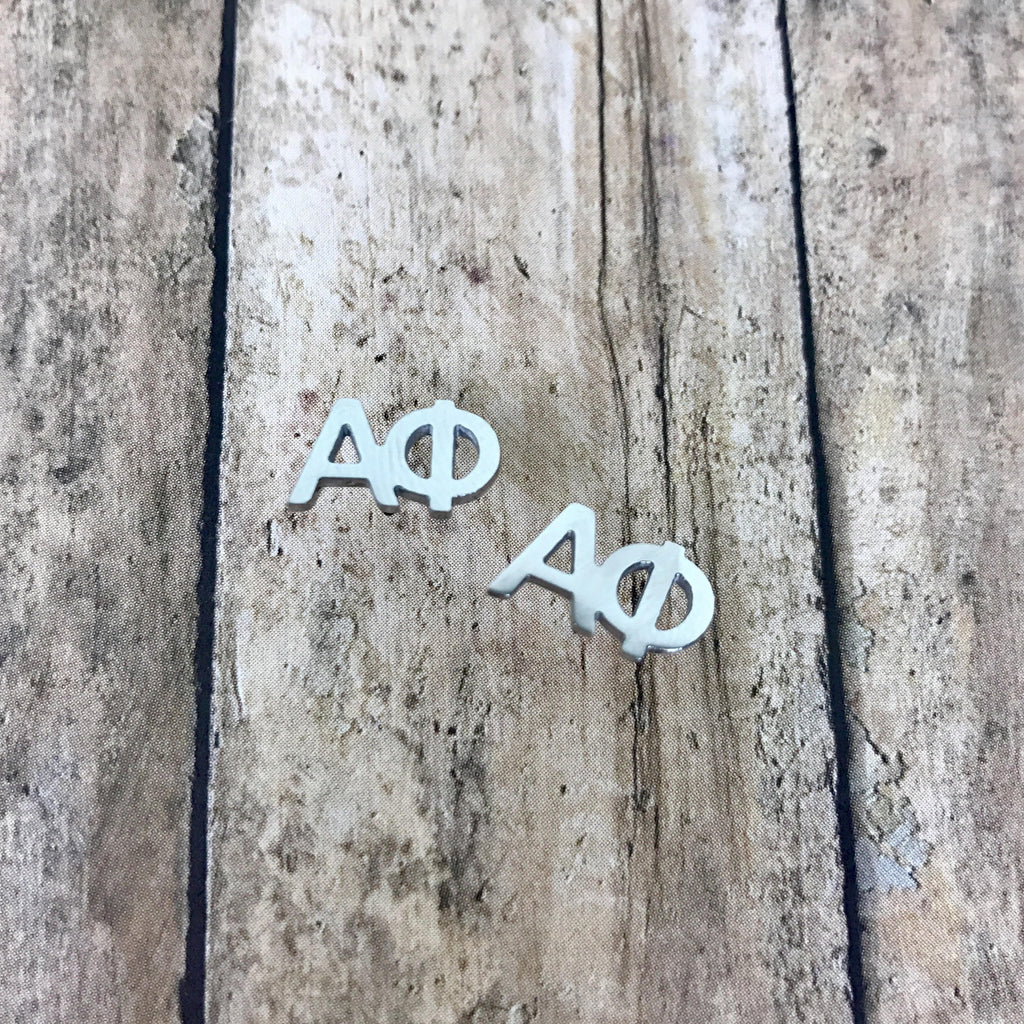 Alpha Phi Letter Stud Earrings (Silver)