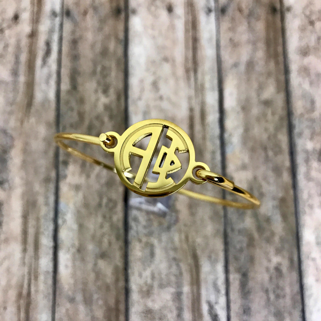 Alpha Phi Monogram Style Bangle Bracelet (Gold)