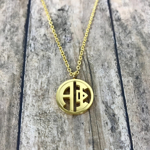 Alpha Phi Monogram Style Necklace (Gold)