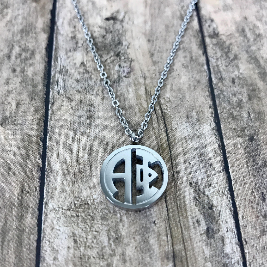 Alpha Phi Monogram Style Necklace (Silver)