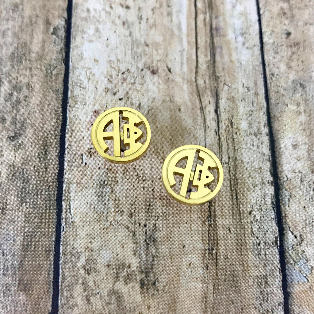 Alpha Phi Monogram Style Stud Earrings (Gold)