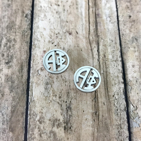 Alpha Phi Monogram Style Stud Earrings (Silver)