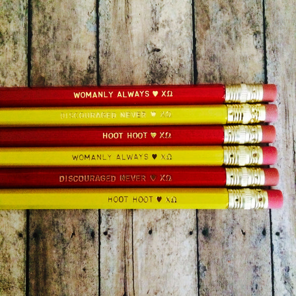 Chi Omega Cardinal and Straw Quote Pencils with Gold Text