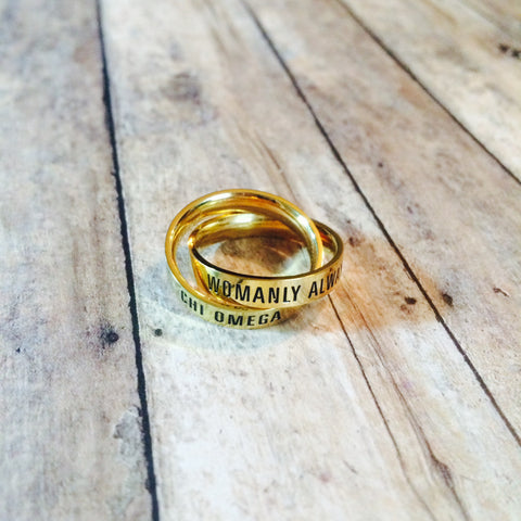 Chi Omega Interlocking Quote Rings (Gold)
