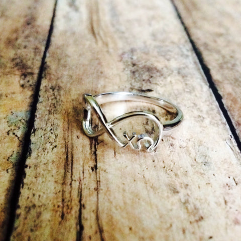 Chi Omega Infinity Ring (Silver)