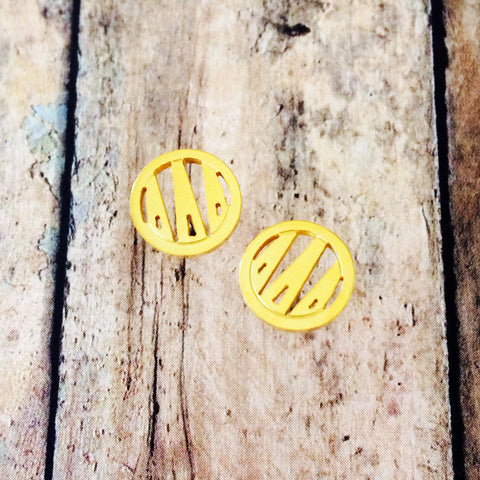 Delta Delta Delta Monogram Style Stud Earrings (Gold)