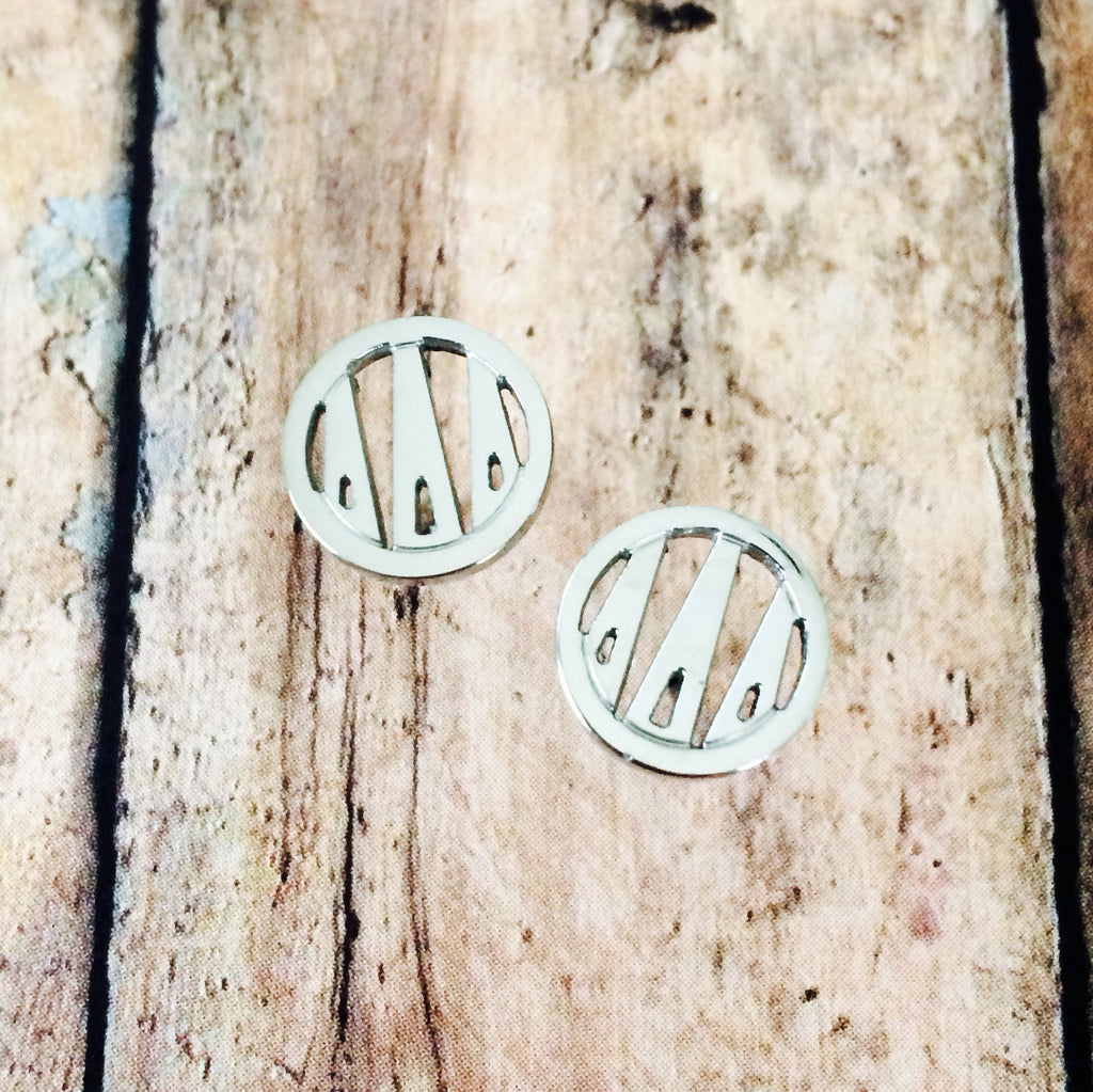 Delta Delta Delta Monogram Style Stud Earrings (Silver)