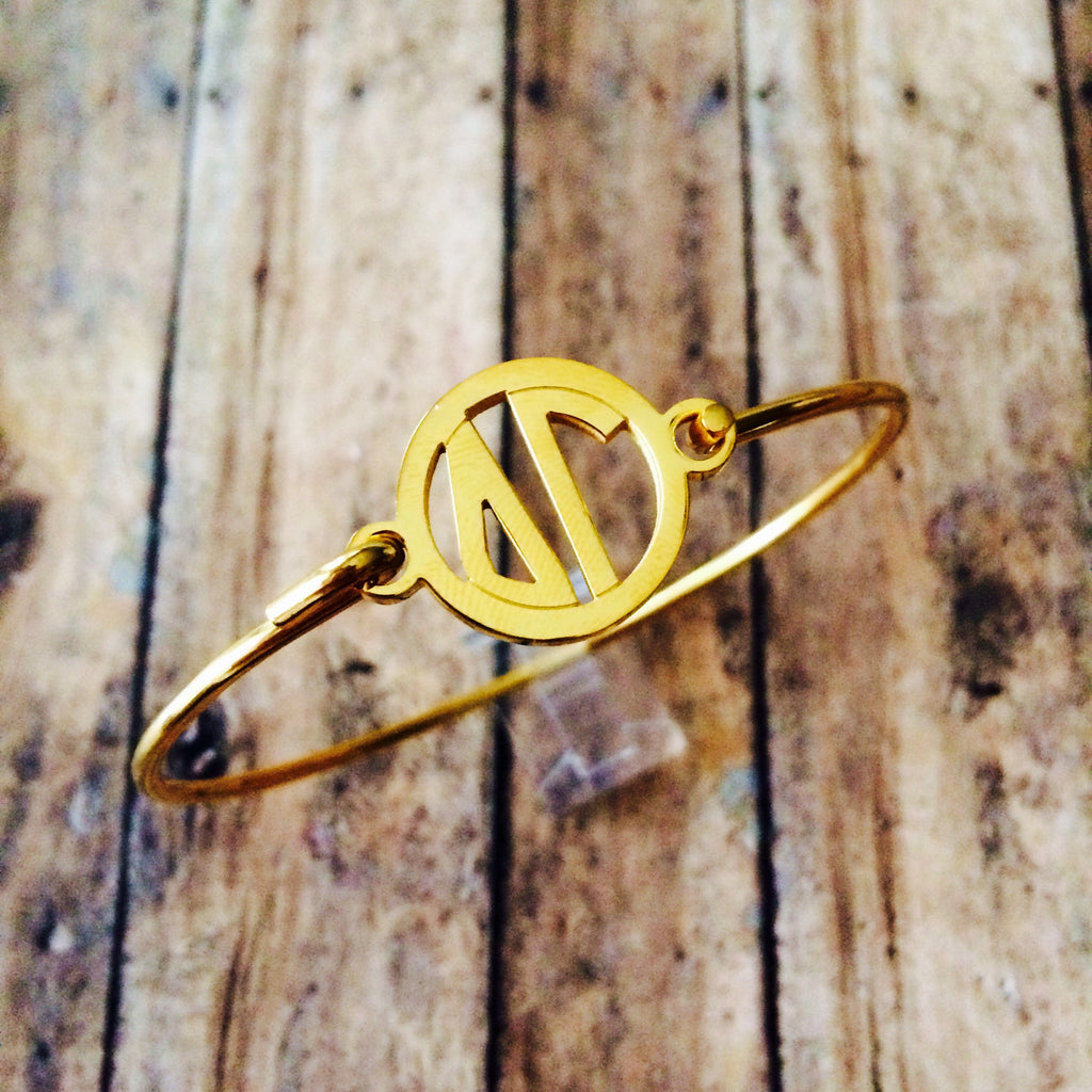 Delta Gamma Monogram Style Bangle Bracelet (Gold)