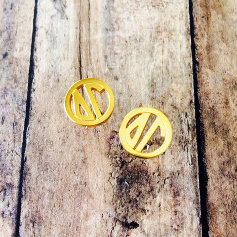 Delta Gamma Monogram Style Stud Earrings (Gold)