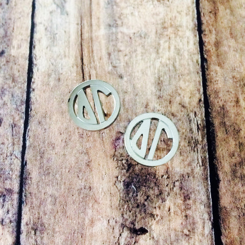 Delta Gamma Monogram Style Stud Earrings (Silver)
