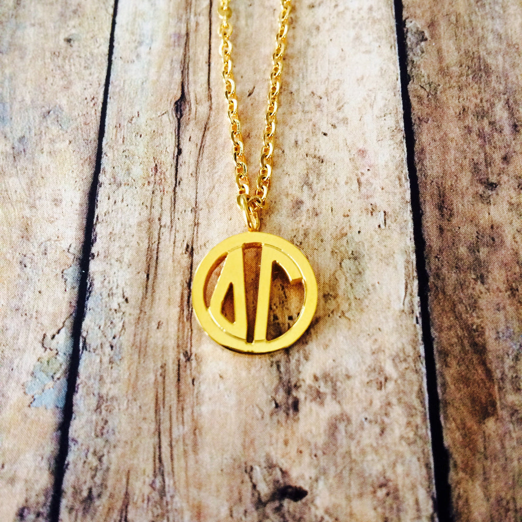 Delta Gamma Monogram Style Necklace (Gold)