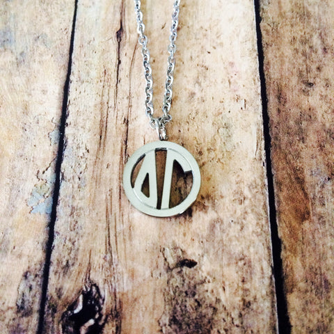 Delta Gamma Monogram Style Necklace (Silver)