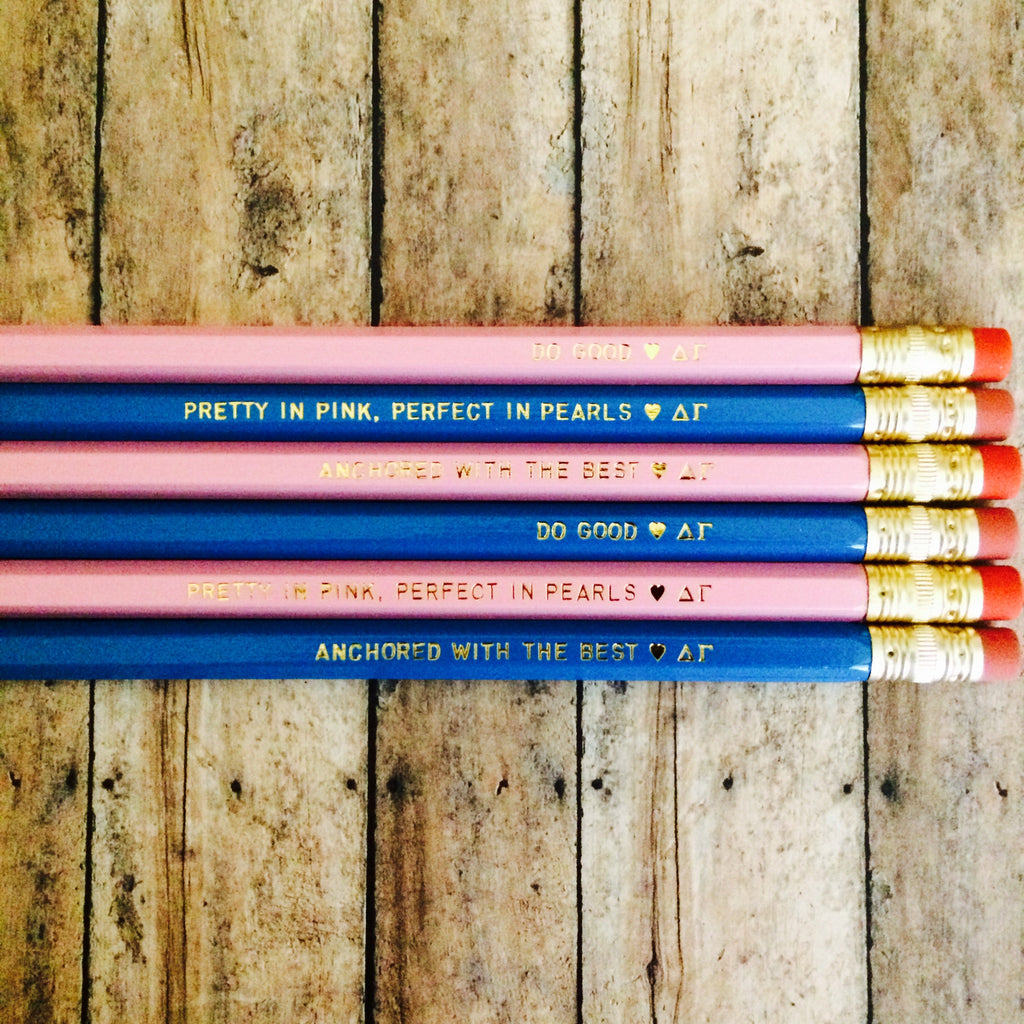 Delta Gamma Quote Pencils with Gold Foil Text