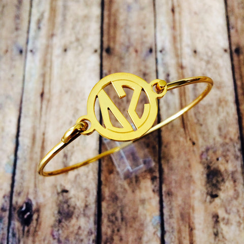Delta Zeta Monogram Style Bangle Bracelet (Gold)