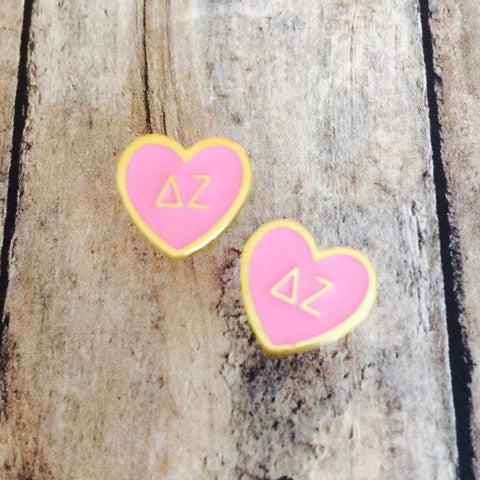 Delta Zeta Enameled Heart Earrings (Gold)