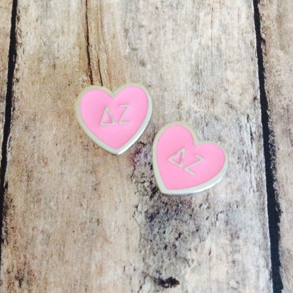 Delta Zeta Enameled Heart Earrings (Silver)