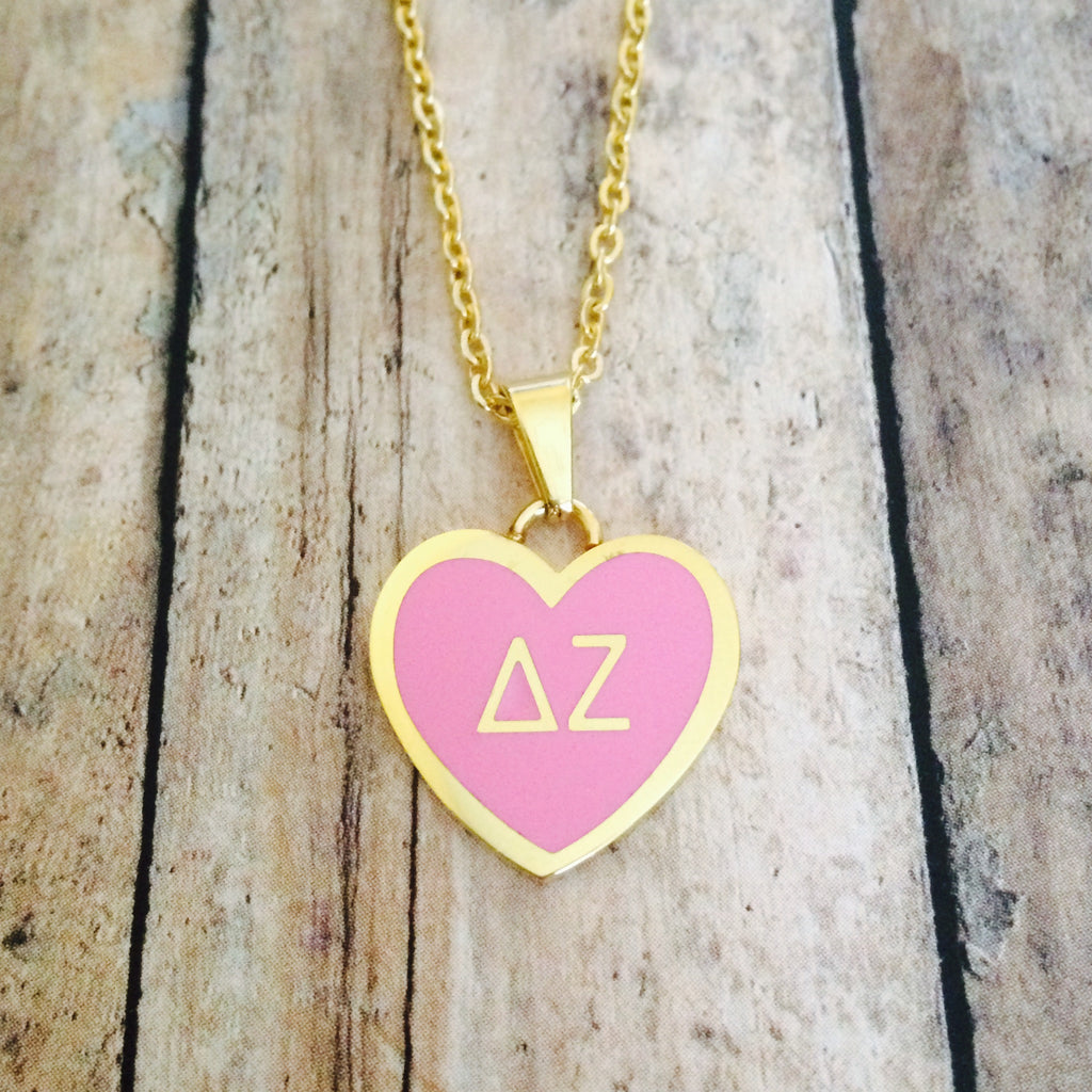 Delta Zeta Enameled Heart Necklace (Gold)