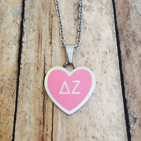 Delta Zeta Enameled Heart Necklace (Silver)