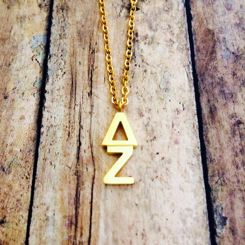 Delta Zeta Classic Letter Necklace (Gold)