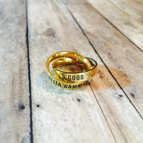 Delta Gamma Interlocking Quote Rings (Gold)