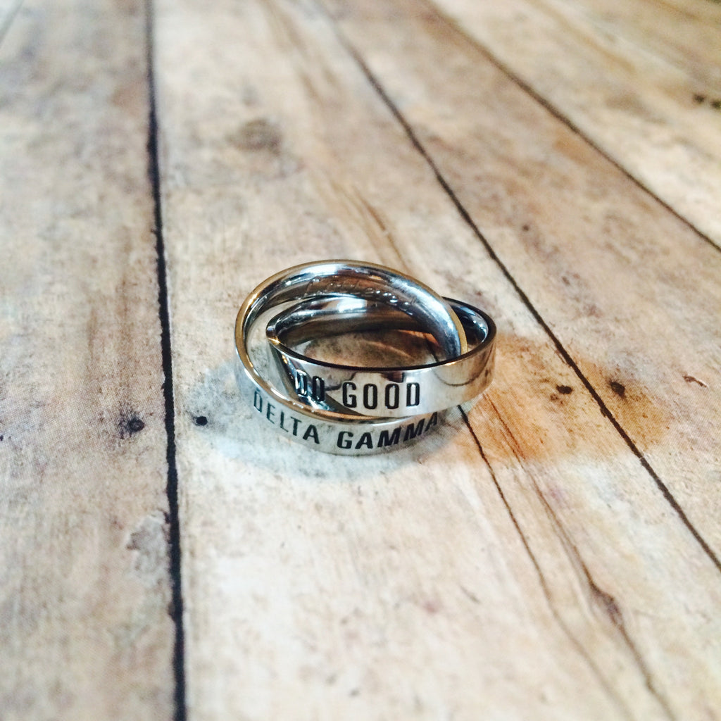 Delta Gamma Interlocking Quote Rings (Silver)
