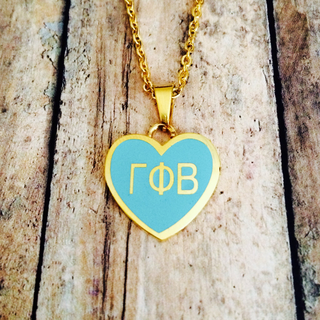 LIMITED EDITION Gamma Phi Beta Enameled Heart Necklace (Gold)