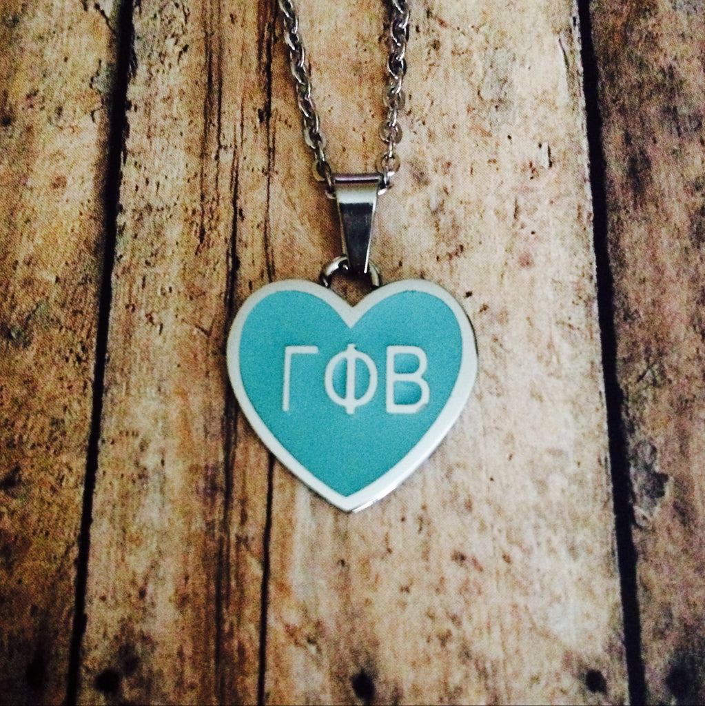 LIMITED EDITION Gamma Phi Beta Enameled Heart Necklace (Silver)