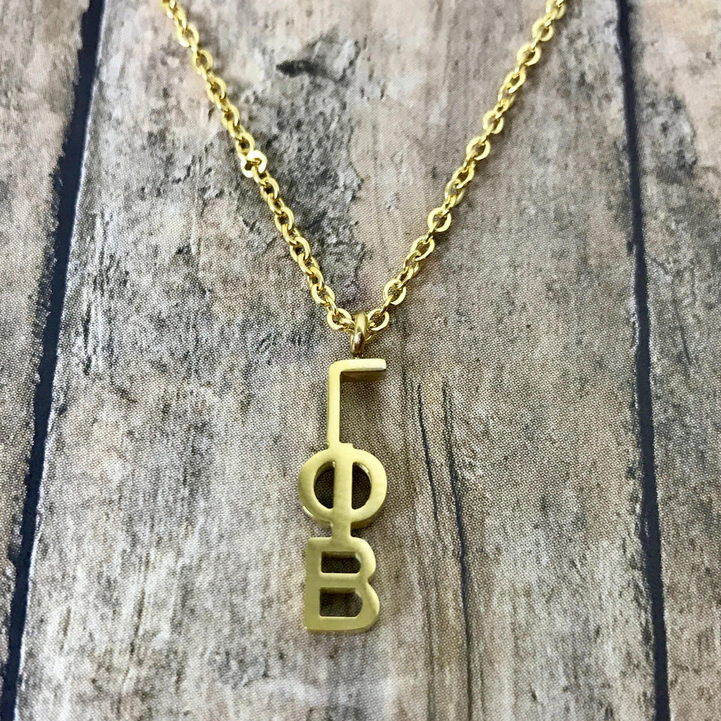 Gamma Phi Beta Classic Letter Necklace (Gold)