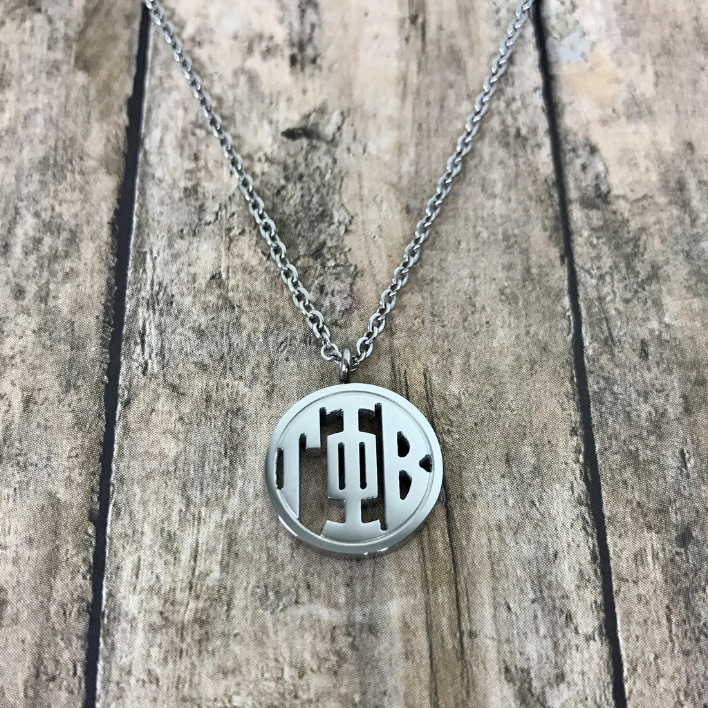 Gamma Phi Beta Monogram Style Necklace (Silver)