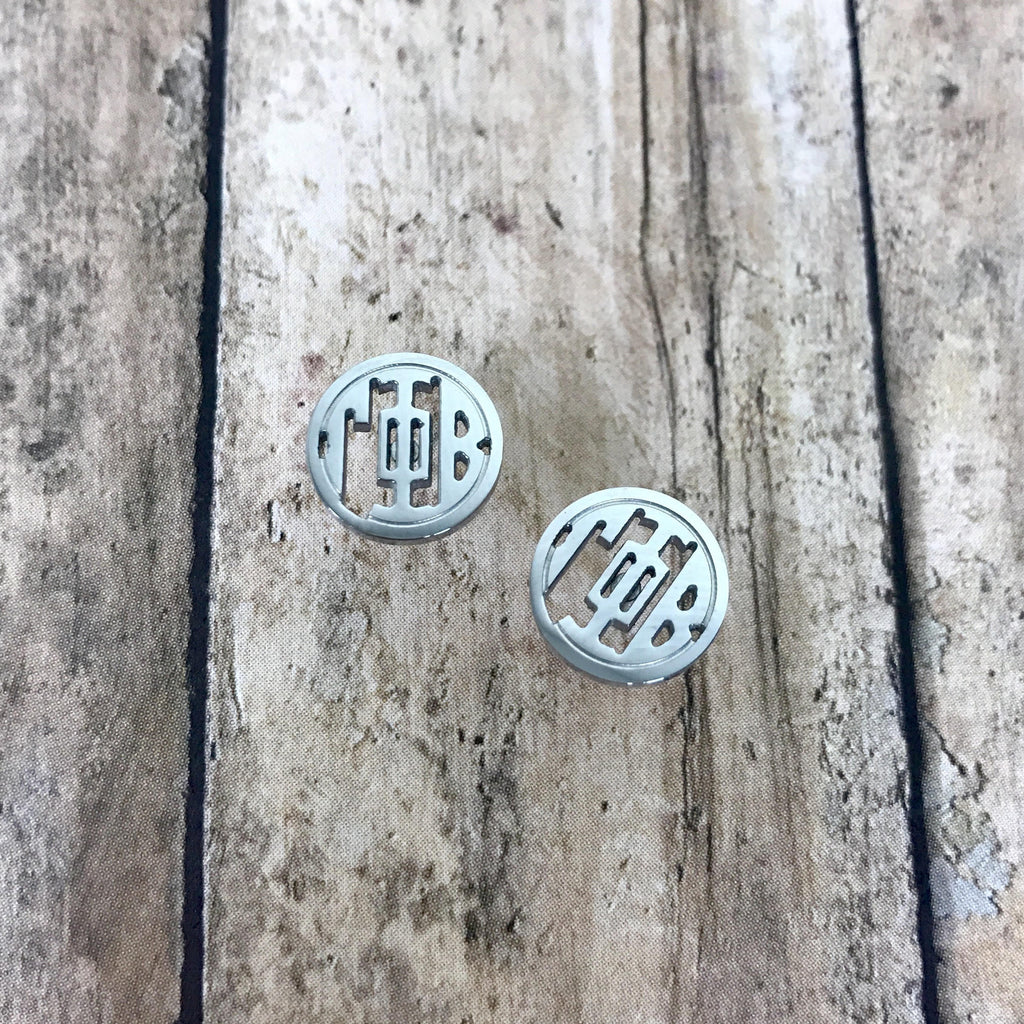 Gamma Phi Beta Monogram Style Stud Earrings (Silver)