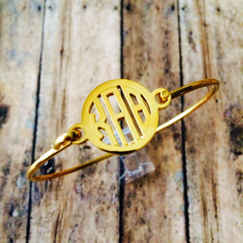 Kappa Alpha Theta Monogram Style Bangle Bracelet (Gold)