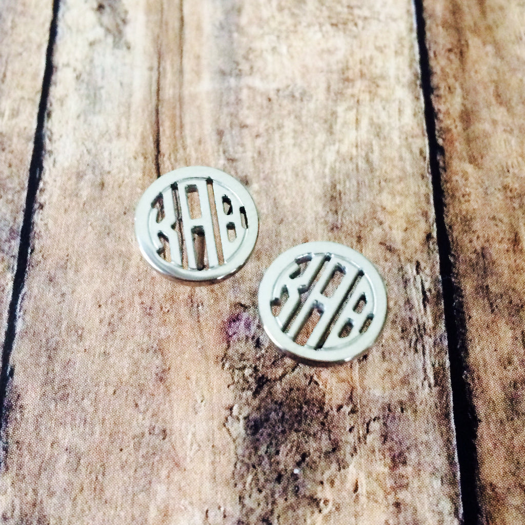 Kappa Alpha Theta Monogram Style Stud Earrings (Silver)