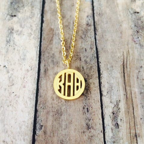 Kappa Alpha Theta Monogram Style Necklace (Gold)