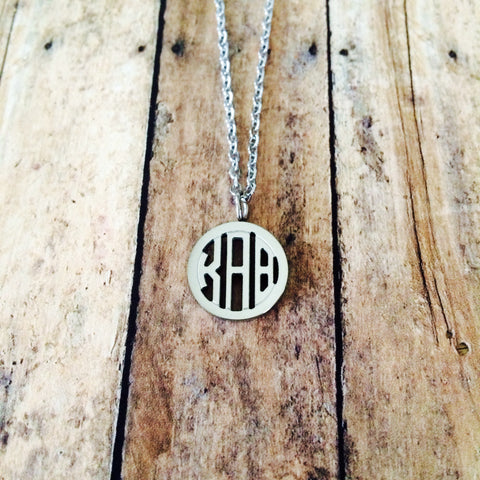 Kappa Alpha Theta Monogram Style Necklace (Silver)