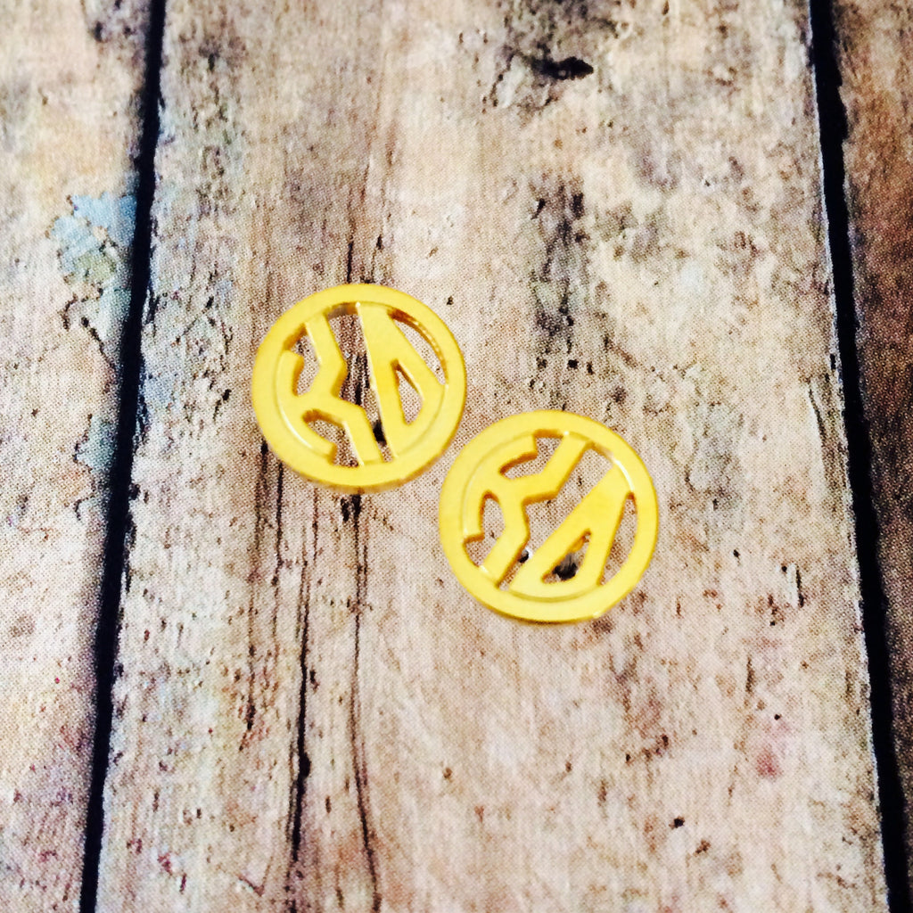 Kappa Delta Monogram Style Stud Earrings (Gold)