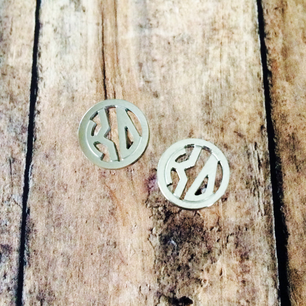 Kappa Delta Monogram Style Stud Earrings (Silver)