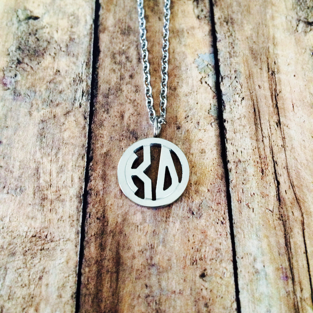 Kappa Delta Monogram Style Necklace (Silver)