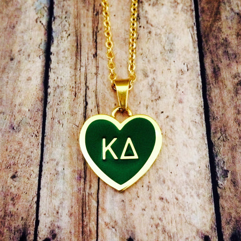 Kappa Delta Enameled Heart Necklace (Gold)
