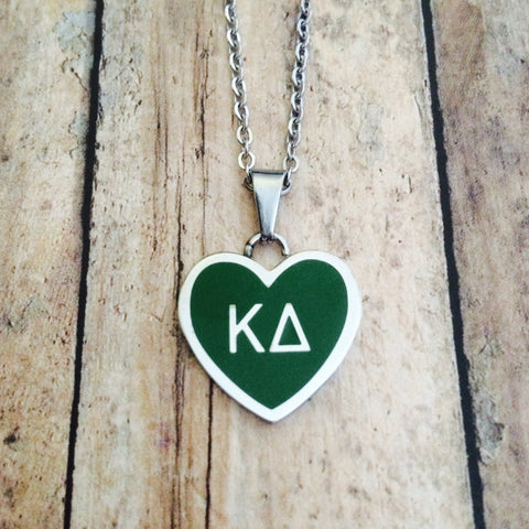 Kappa Delta Enameled Heart Necklace (Silver)