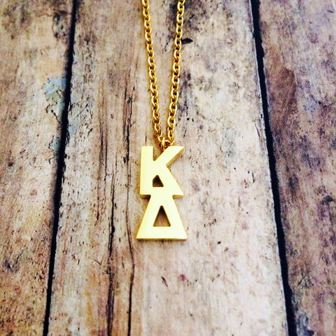 Kappa Delta Classic Letter Necklace (Gold)