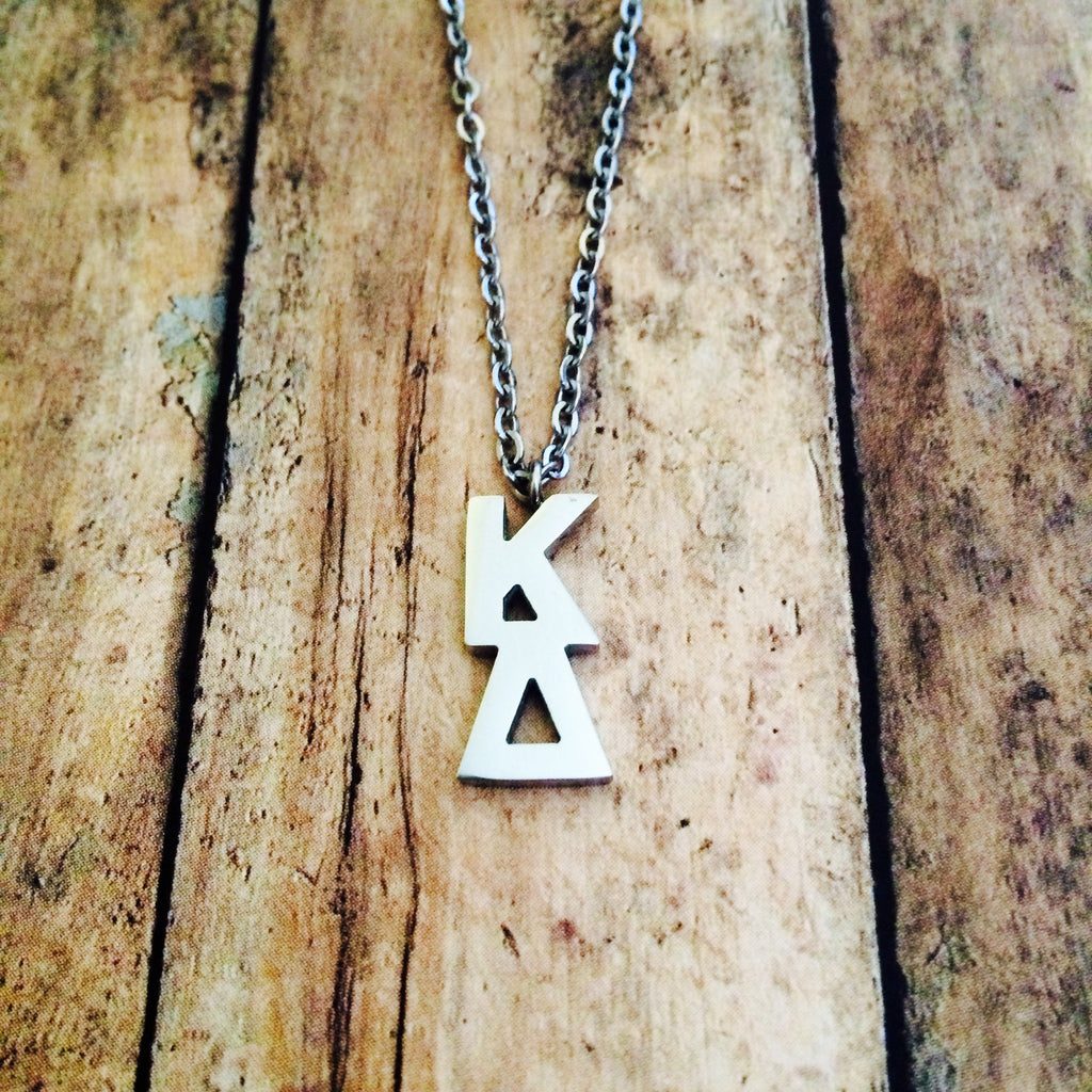 Kappa Delta Classic Letter Necklace (Silver)