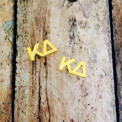 Kappa Delta Letter Stud Earrings (Gold)