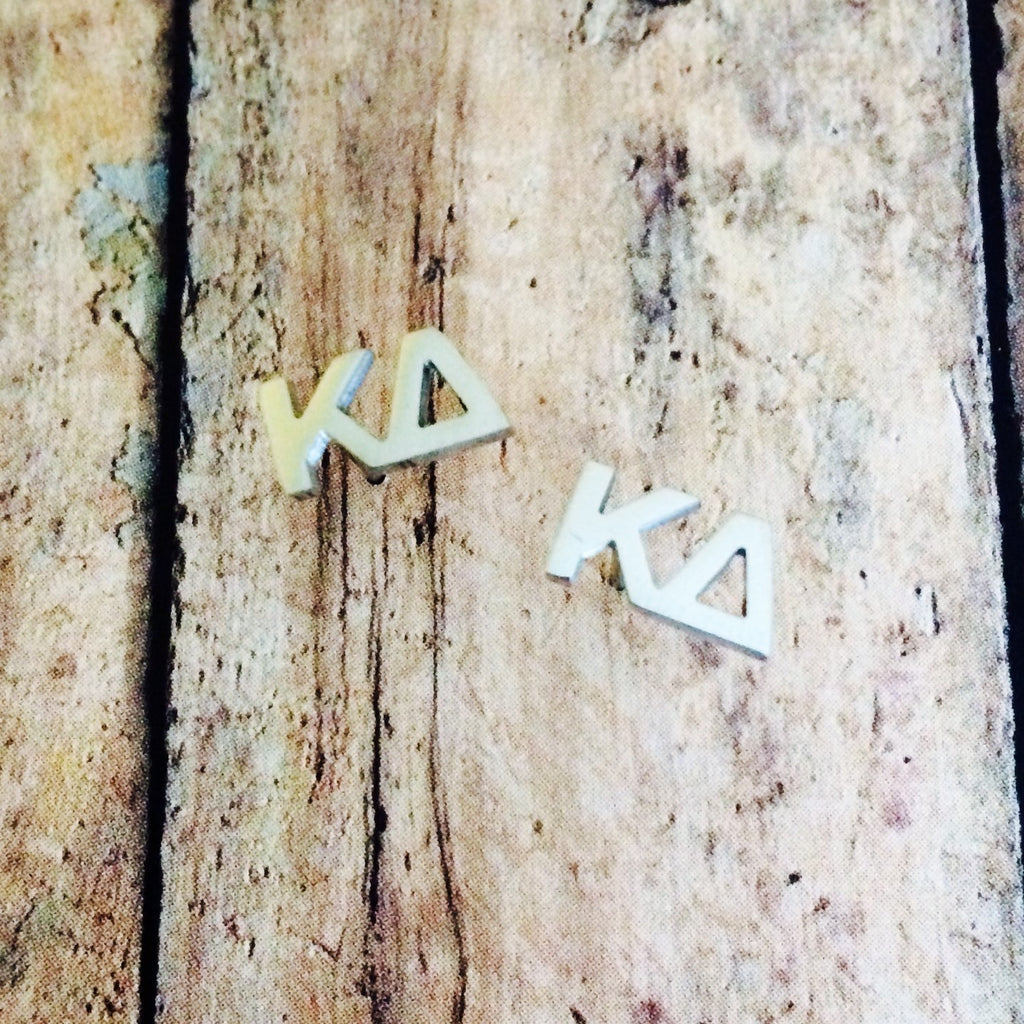 Kappa Delta Letter Stud Earrings (Silver)