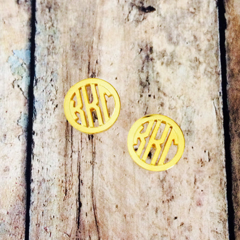 Kappa Kappa Gamma Monogram Style Stud Earrings (Gold)