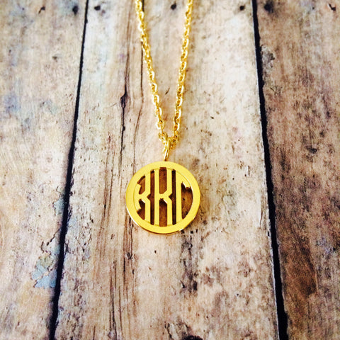 Kappa Kappa Gamma Monogram Style Necklace (Gold)