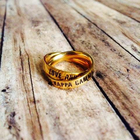 Kappa Kappa Gamma Interlocking Quote Rings (Gold)