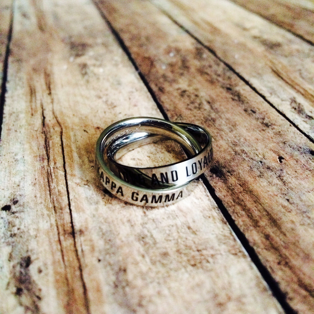 Kappa Kappa Gamma Interlocking Quote Rings (Silver)