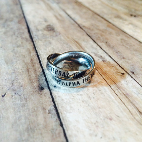 Kappa Alpha Theta Interlocking Quote Rings (Silver)