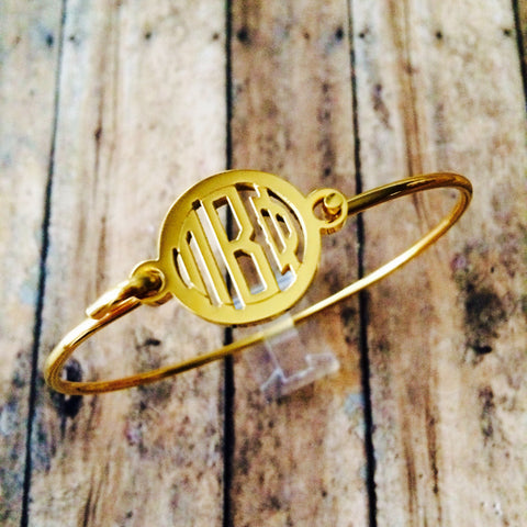 Pi Beta Phi Monogram Style Bangle Bracelet (Gold)